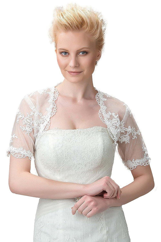 Hochzeit Spitze Mit Damen New Tüll Yasiou Jacke Kurze Ärmel DHWI2eE9Y