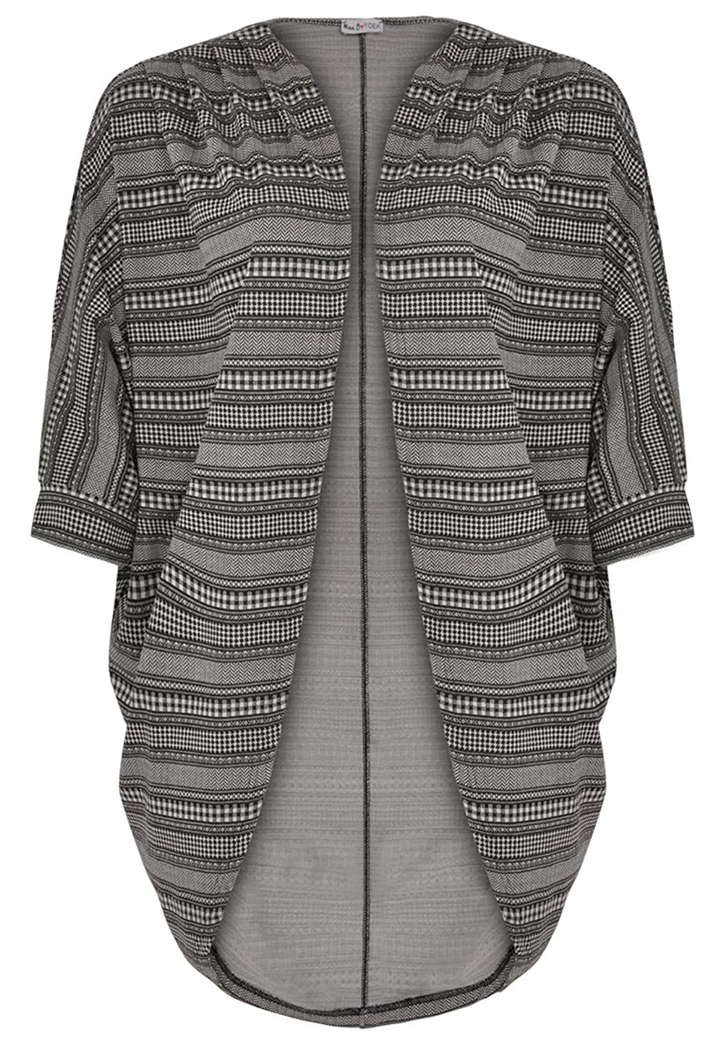 Yoek Damen Strickjacke mit Druck Plus Size