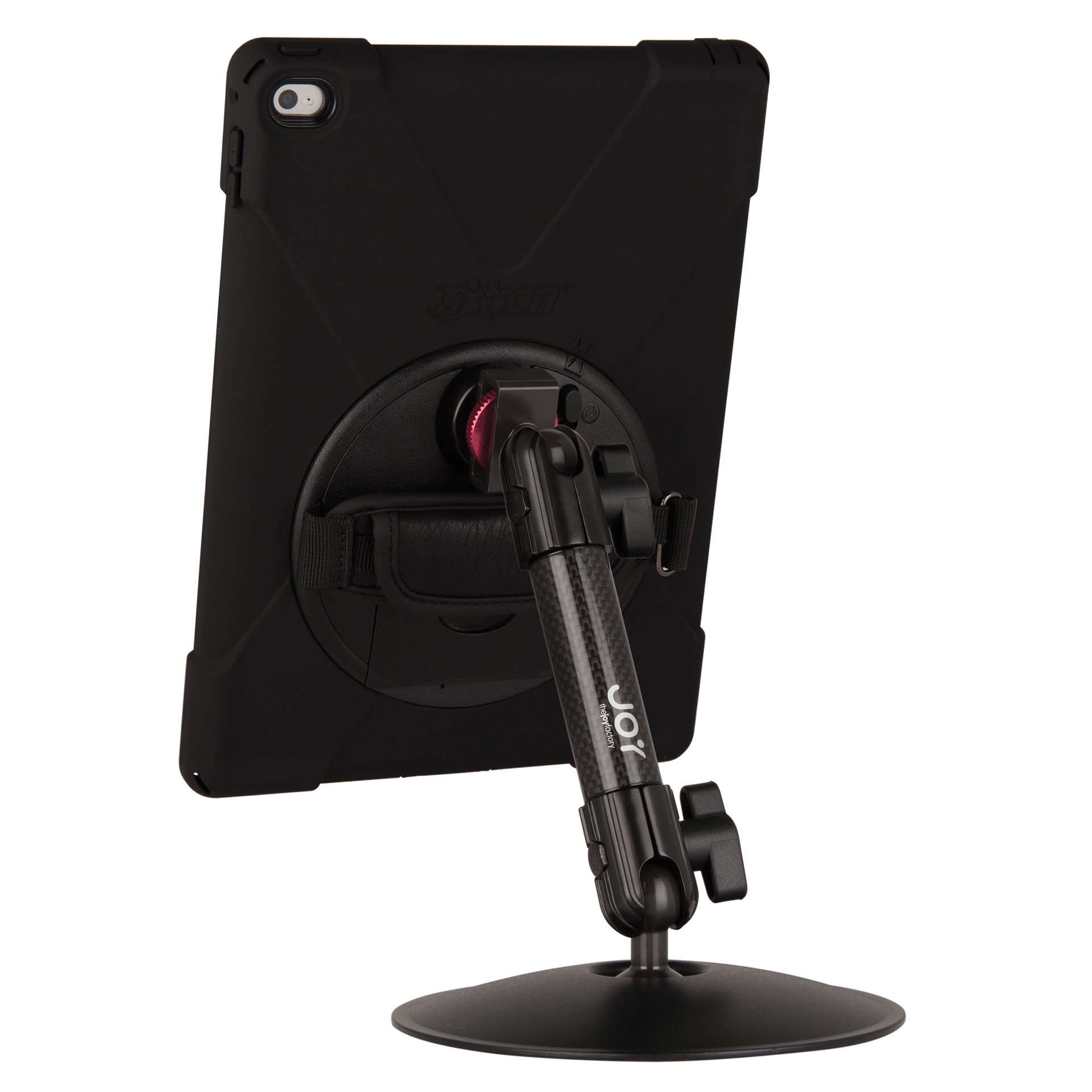 The Joy Factory MagConnect Carbon Fiber Desk Stand Mount with aXtion Bold MP Water-Resistant Rugged Shockproof Case for iPad Air 2, Built-In Screen Protector, Hand Strap, Kickstand (MWA311MP)