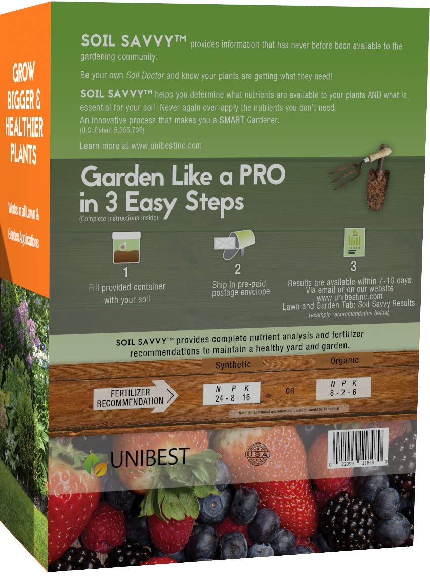 Soil Savvy - Soil Test Kit   Understand What Your Lawn or Garden Soil Needs, Not Sure What Fertilizer to Apply   Analysis Provides Complete Nutrient Analysis & Fertilizer Recommendation On Report