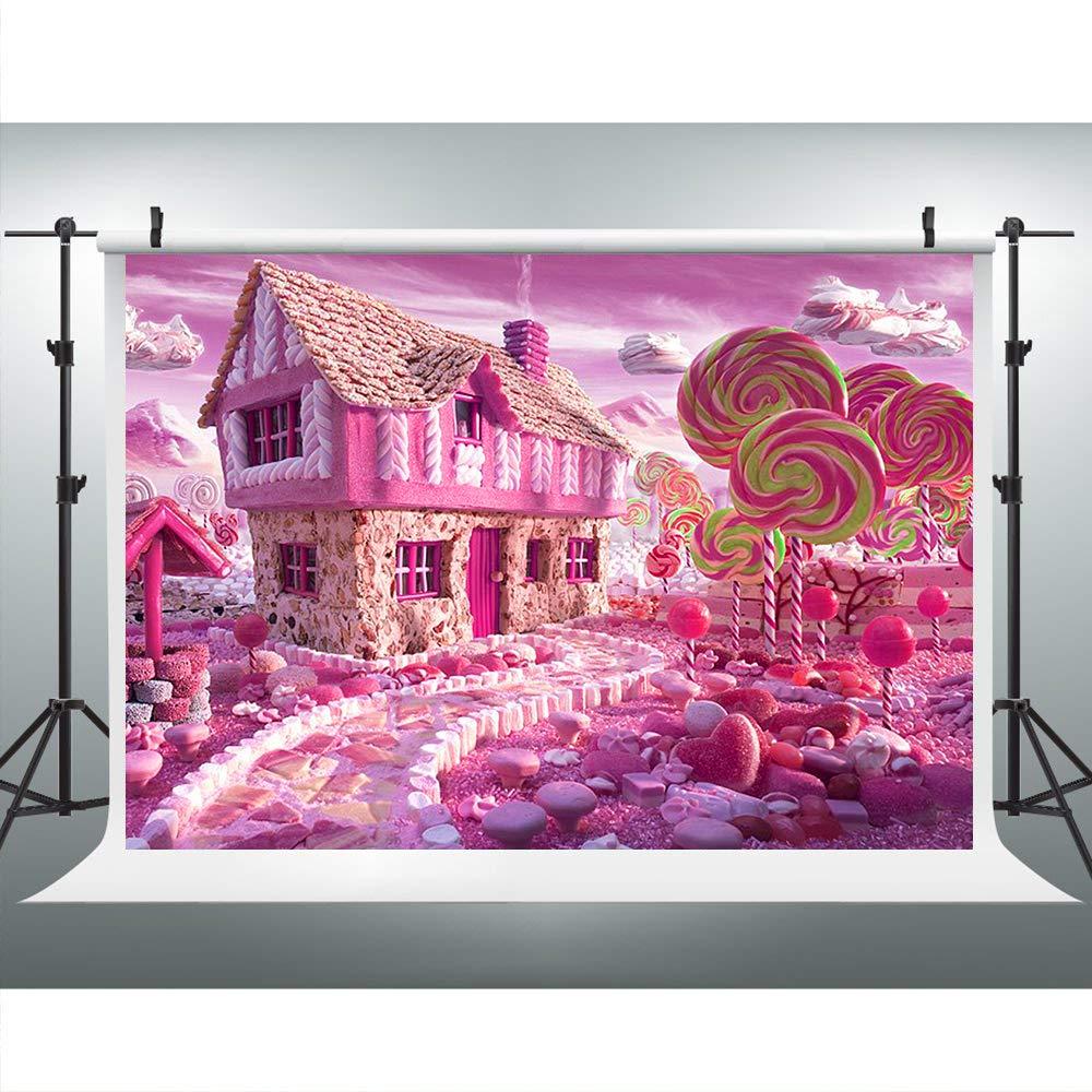 ピンキャンディハウス背景幕 パーティー写真用 9x6フィート ロリポップキャンディランド背景 女の子の赤ちゃんパーティー背景 写真ブース小道具 HXLU108   B07N6DYCG2
