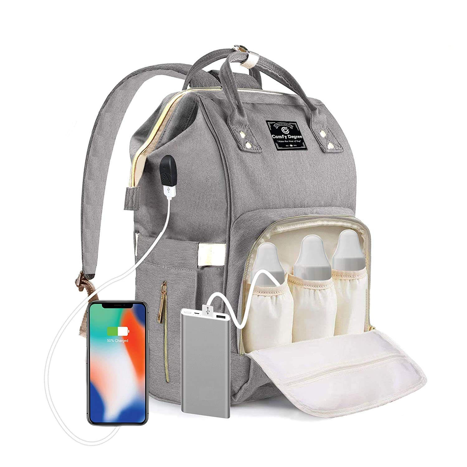 ComfyDegree Baby Changing Bag Backpack Waterproof Multi-Function Large Capacity Diaper Bag Rucksack with USB Port, Stroller Straps & 3X Insulated Bottle Warmer Pockets for Mom and Dad (Gray)