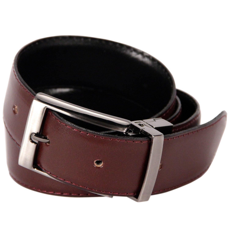 Logical Leather Reversible Men's Dress Belt - Genuine Full Grain Leather Belt for Men - Brown/Black - 32
