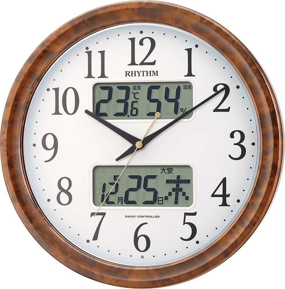 リズム時計 掛け時計 電波 アナログ ピュアカレンダーM617SR 暗所 ライト 自動 点灯 カレンダー 温度  湿度 表示 茶 (木目仕上げ) RHYTHM 4FY617SR23 B01CN9P3B6