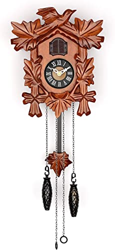 Polaris Clocks Small Cuckoo Clock with Hand Carved Birds, Weights and Swinging Pendulum Cherry