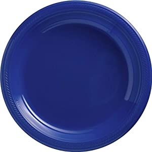 Amscan Bright Royal Blue 630732.105 Plastic Dinner Plates Big Party Pack 50ct, 10.5-Inch