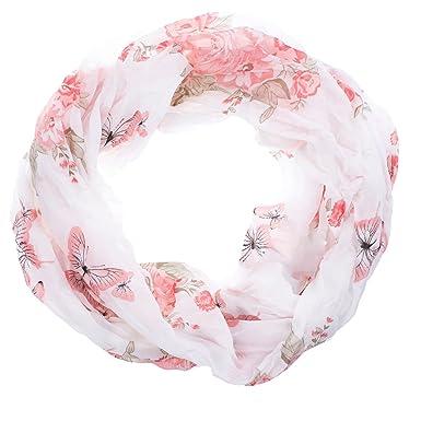Rundschal Loopschal Schal,Tuch,Loop Schlauchschal,Blumen,Schmetterlinge Weiß