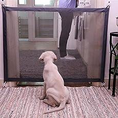 QBABY Puerta de Seguridad Retráctil Barrera de Seguridad Ajustable Extensible Plegable Portátil para Niños Bebés Mascotas Perros Gatos