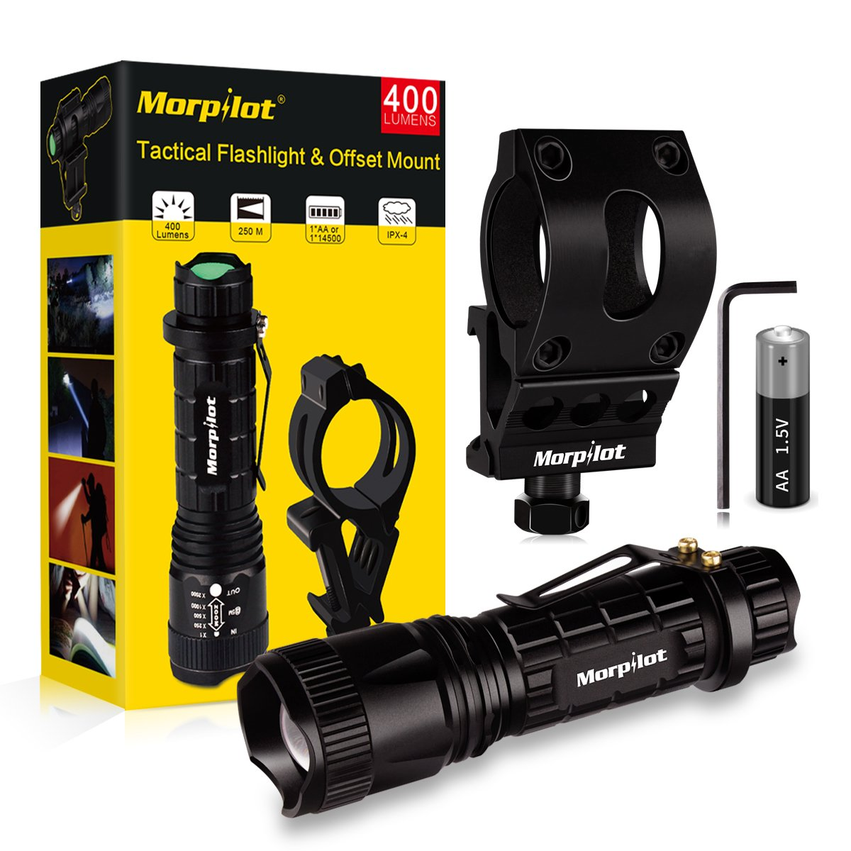 Morpilot Flashlight Mount Rail Mount Flashlight Picatinny Flashlight, 5 Modes 400LM Tactical Flashlight Offset Mount Set, Black