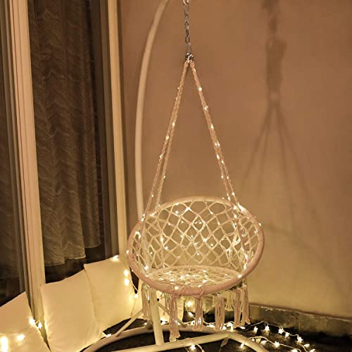X-cosrack Hanging Chair with LED Lights for 2-16 Years Old Kids,Handmade Knitted Macrame Hammock Swing Chair for Bedroom,Indoor,Yard,Garden- 230 Pound Capacity Stand and Chain not Included