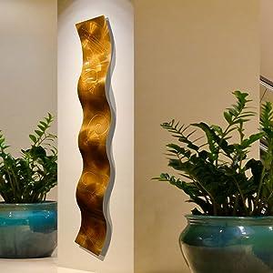"""Copper 3D Abstract Metal Wall Art Sculpture Wave - Modern Home Décor by Jon Allen - 46.5"""" x 6"""""""