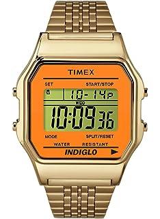 Timex Unisex Digital Watch   Retro Orange Case Gold-Tone Band   TW2P65100