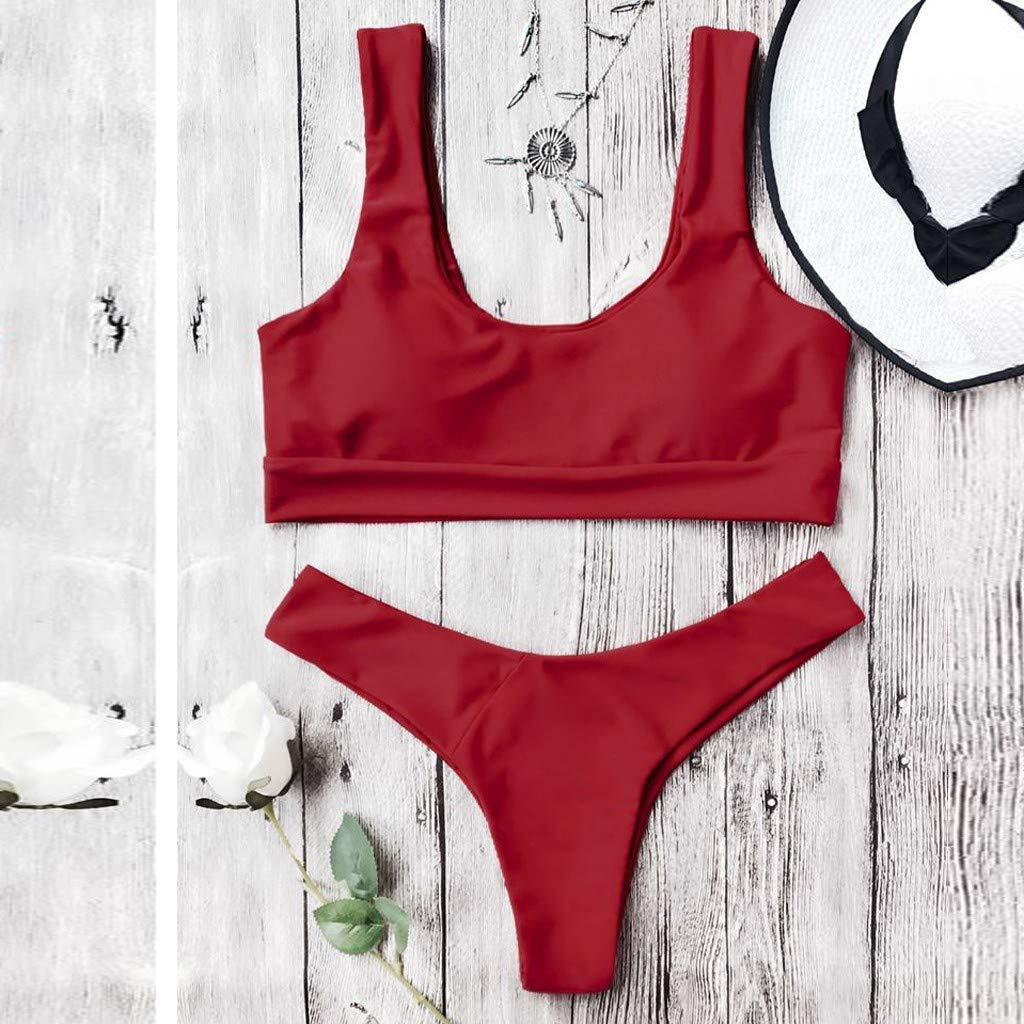 FACAIAFALO Womens Two Piece Bikini Push Up Halter Swimsuit Solid Color Bathing Suits