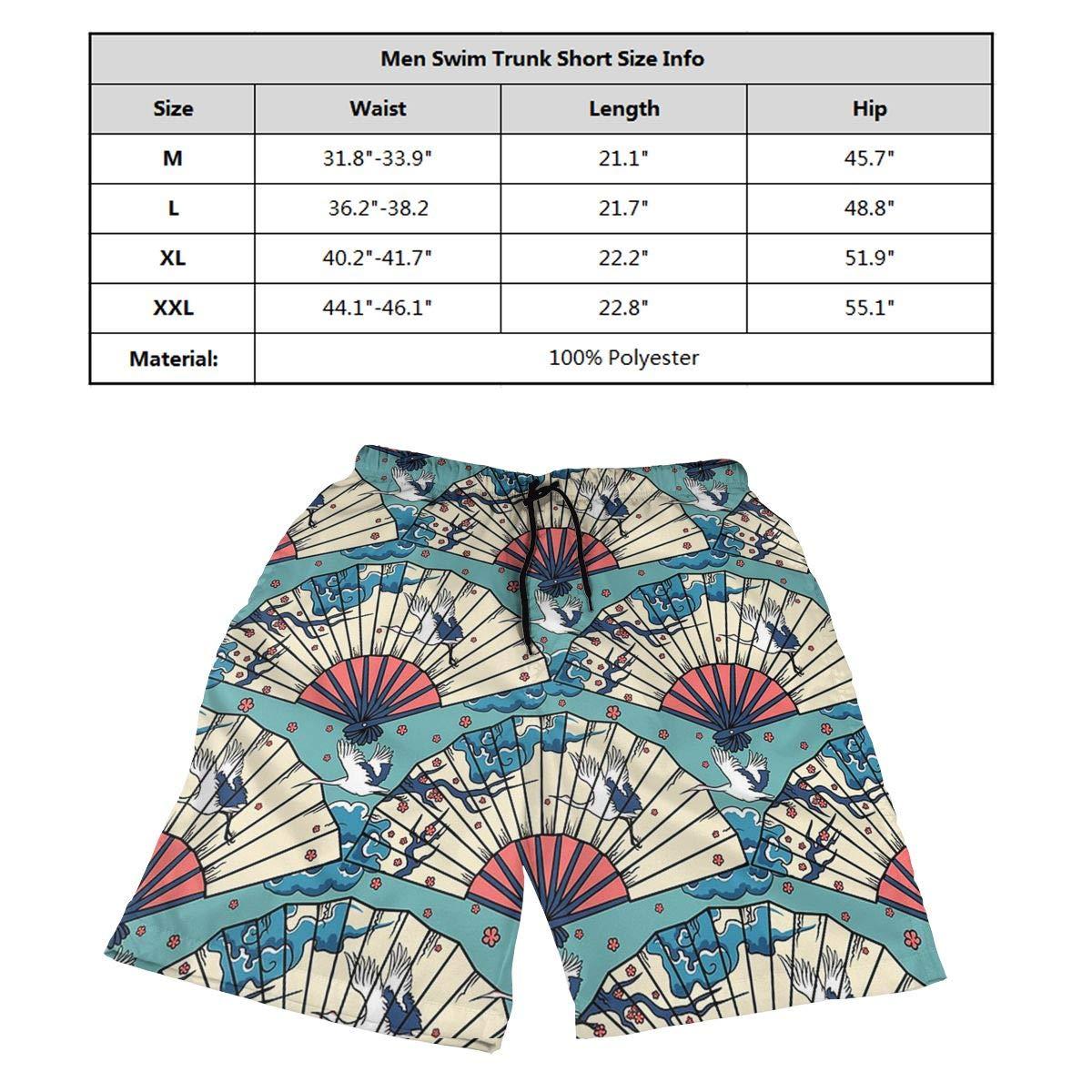 Fan White Crane Chinese Style Mens Beach Shorts Board Shorts Summer Swim Trunks