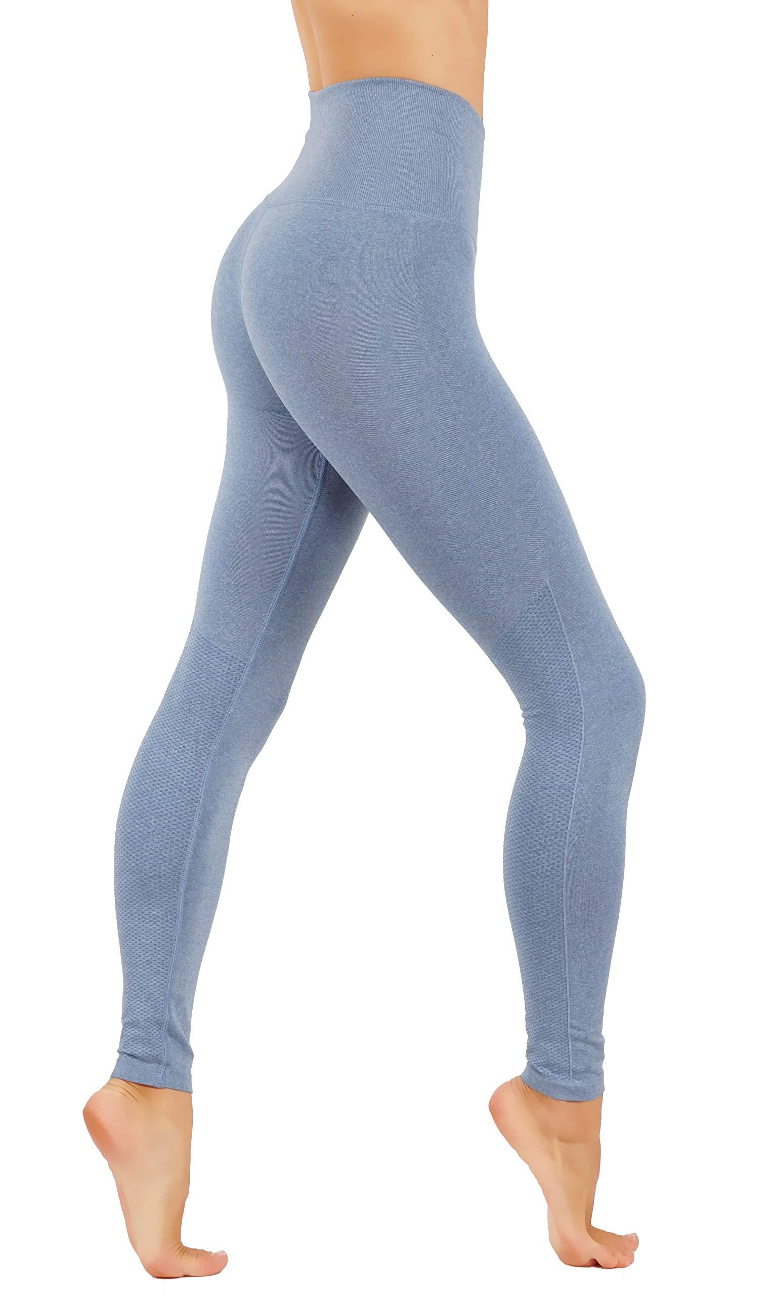 CodeFit Yoga Power Flex Dry-Fit Pants Workout Two Tone Color Leggings S-XL (S/M USA 2-4, CF1004-DEN)