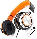 Novateur X Headphones Microphone Folding Lightweight Headset Cellphones Tablets Smartphones Laptop Computer PC Mp3/4 (Orange/Black)