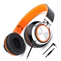 Novateur X Headphones Microphone Folding Lightweight Headset Cellphones Tablets Smartphones Laptop Computer PC Mp3/4 (Orange/Black)