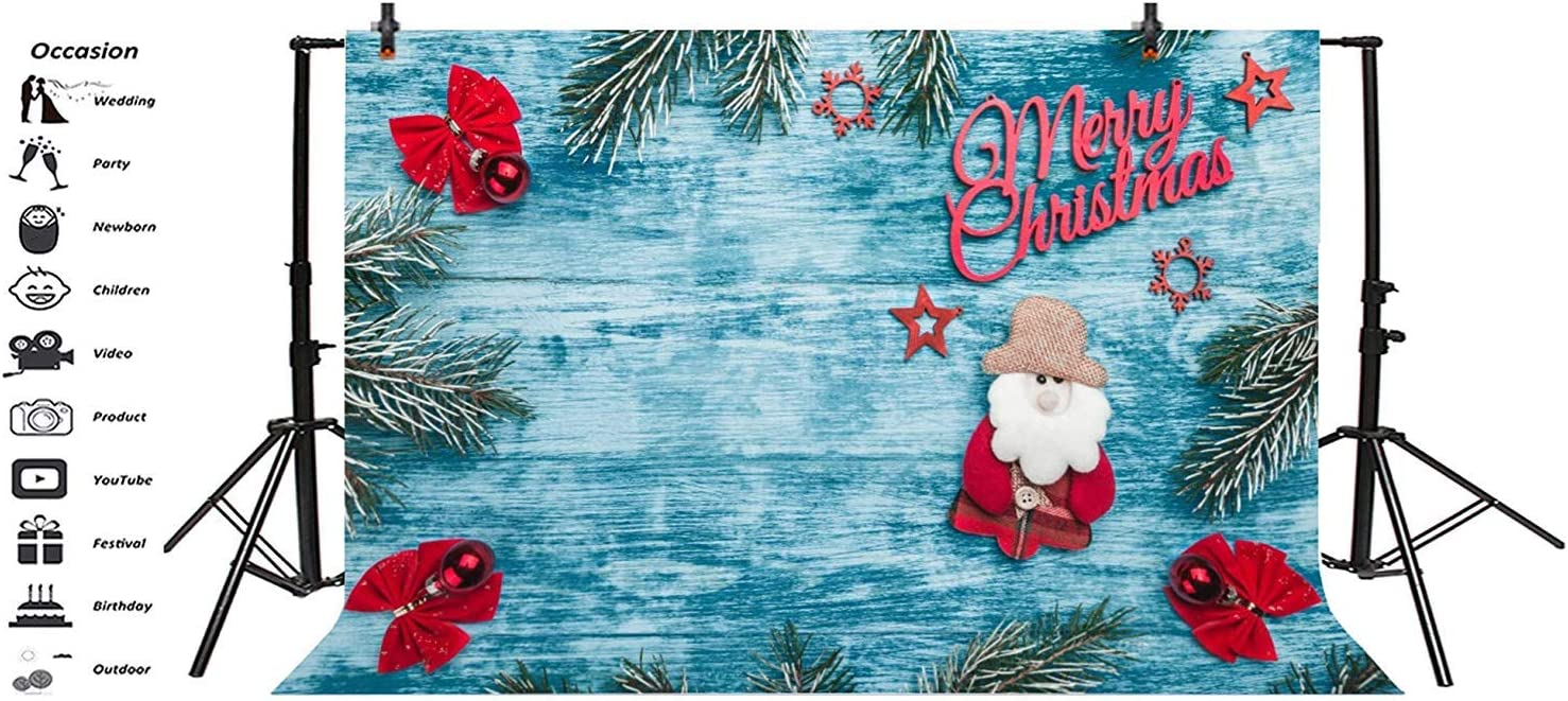 Merry Christmas Backdrop Vinyl 10x7ft Santa Claus Pine Red Bow Star Snowflake Decorations Pale Blue Plank Photo Background Xmas Eve Party Banner Child Baby Shoot Greeting Card Wallpaper