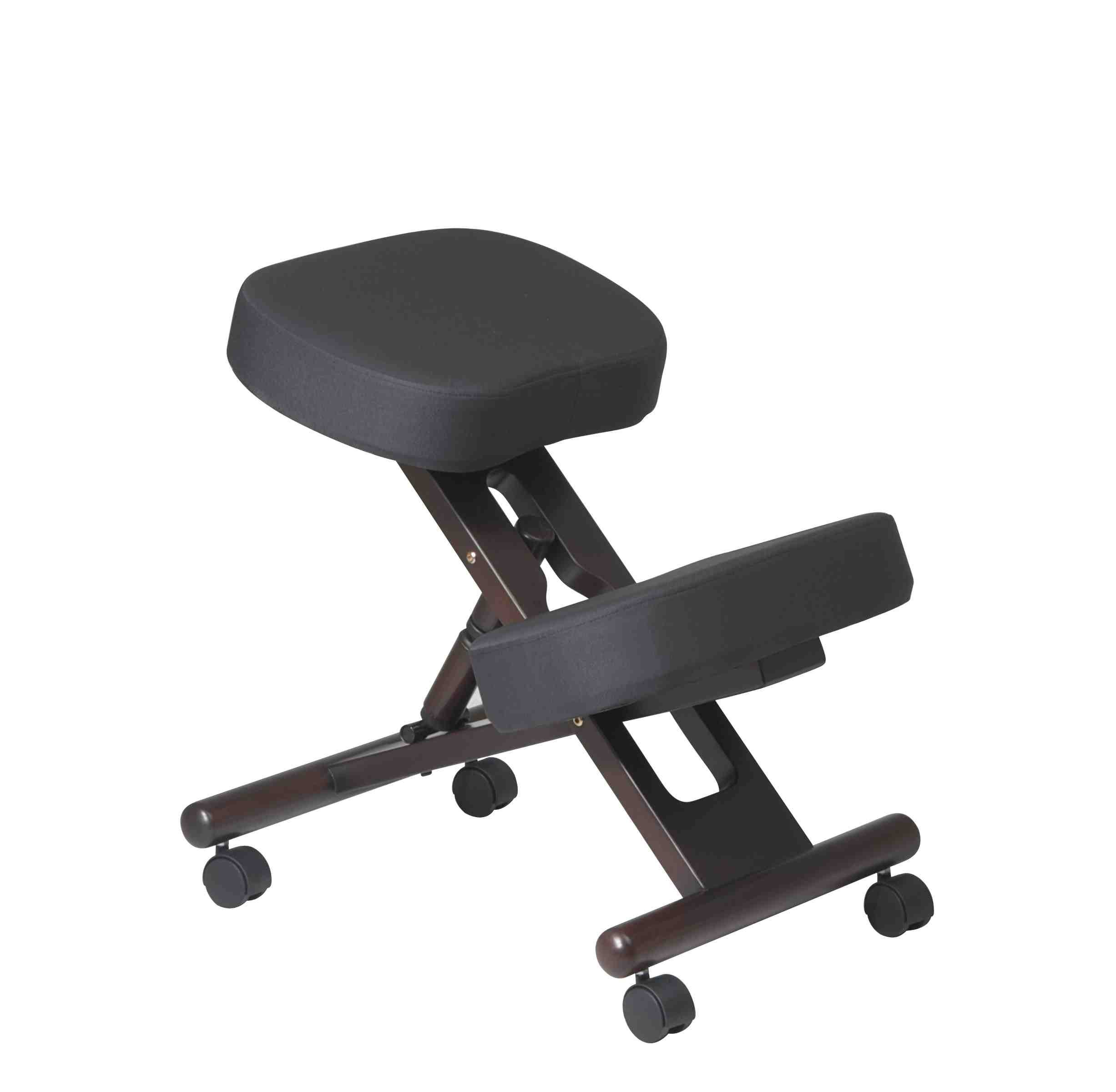 Office Star Ergonomically Designed Knee Chair with Casters, Memory Foam and Espresso Finished Wood Base, Black by Office Star