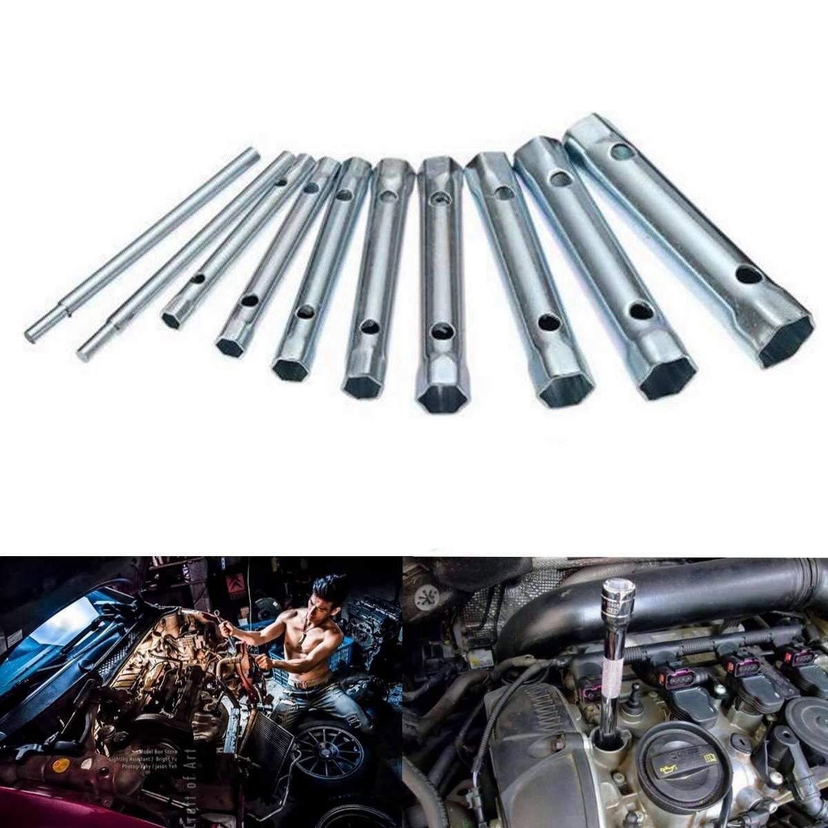 Noblik 6-22Mm 10Pc M/étrique Tubulaire Cl/é /à Tubes Set Barre de Tube Spark-Plug Spanner Acier Double Fini pour Automobile /à LAplomb de R/éparation