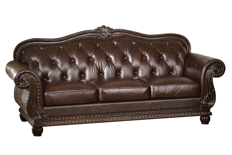 Amazon.com: ACME 15030 Top Grain Leather Sofa, Dark Brown Leather ...