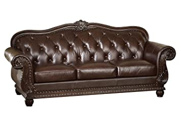 Amazon Com Acme 15030 Top Grain Leather Sofa Dark Brown Leather