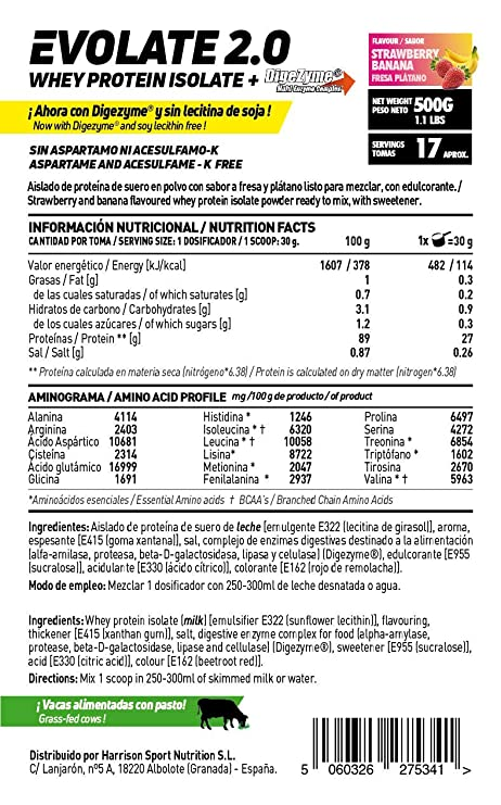 HSN Sports Proteína Aislada de Suero Sabor Frambuesa - 500 gr