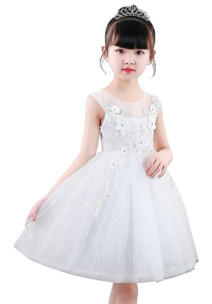 Doveark - Vestido con Bordado Encaje de Niña para Boda Fiesta Cumpleaños 3-4 Años