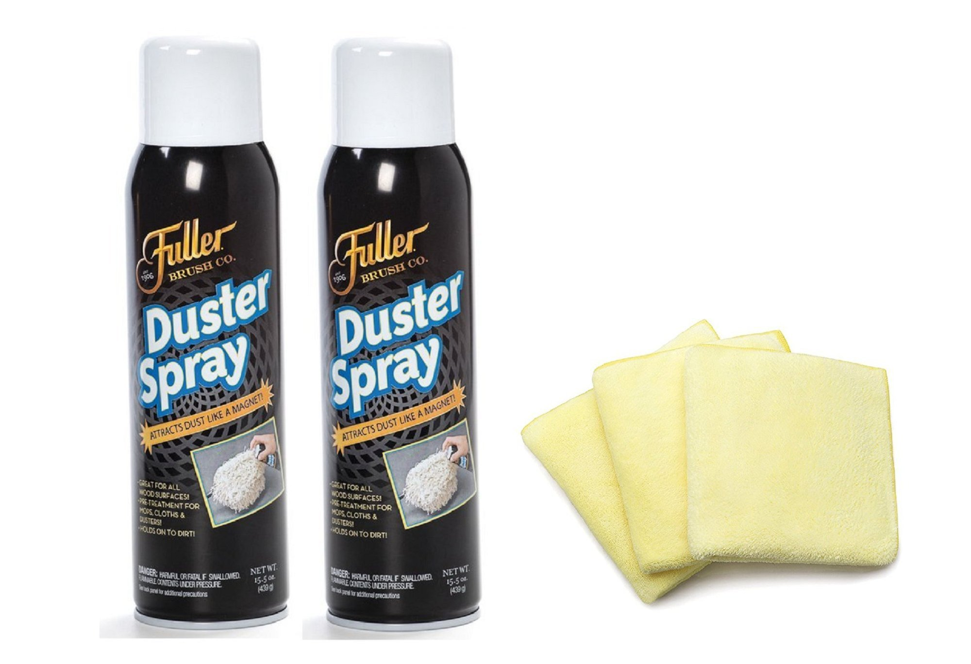 Fuller Brush Duster Sprays with Fuller Brush Dust Grabbing Microfiber Cloths Bundle - Wood & Multi Surface Dust Attractor & Cleaner by Fuller Brush
