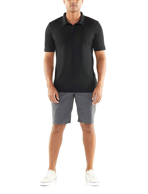 Black XL Icebreaker Merino Mens Mens Solace Short Sleeve Polo
