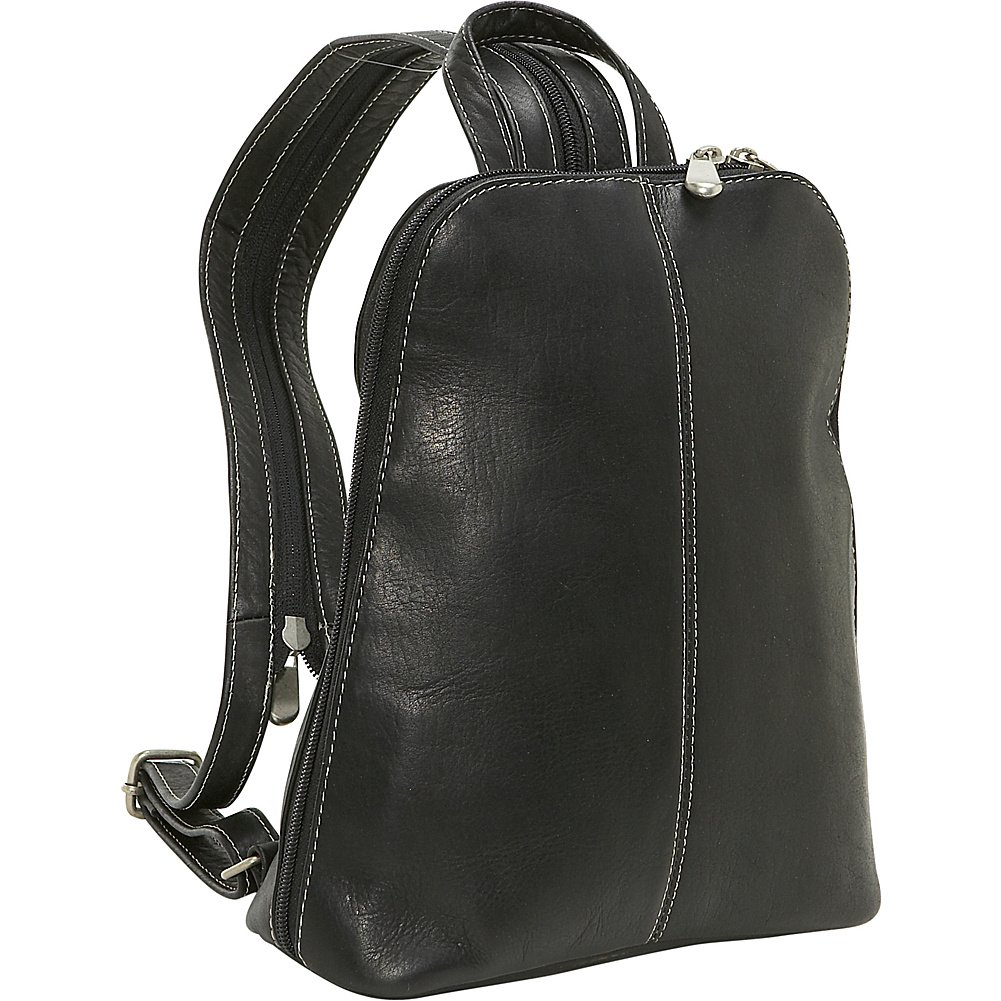 Le Donne Leather U-Zip Women's Sling/Back Pack (Black) by Le Donne Leather