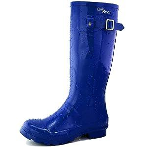 Women's DailyShoes Mid Calf Knee High Hunter Rain Boot Round Toe Rainboots, 7