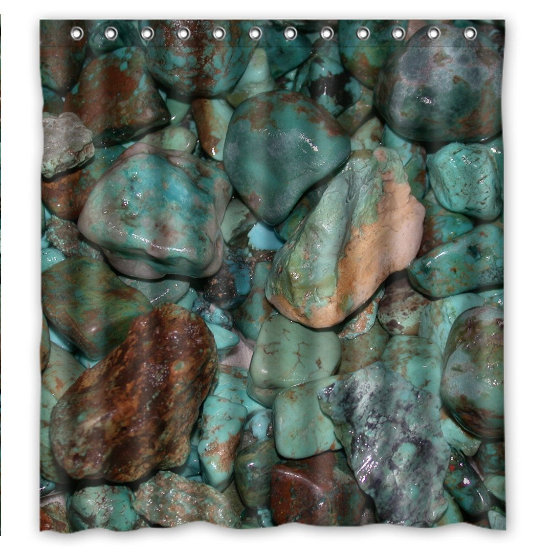 SANMOU Design Real Turquoise Stone Pattern Shower Curtain Waterproof Polyester Bathroom 66 x 72 Momentum Art