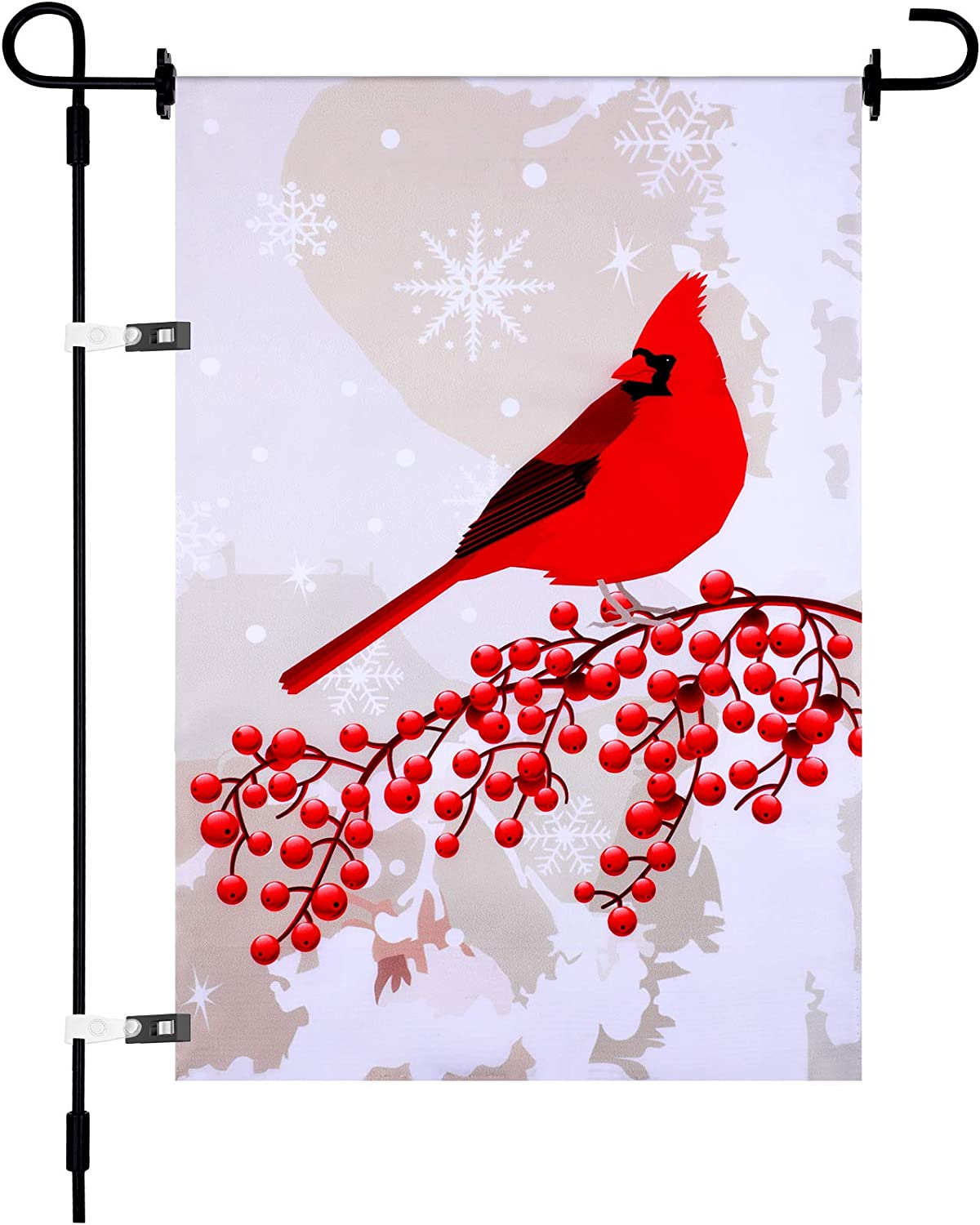 Red Cardinal Bird Garden Flag Christmas Garden Flag Winter Snow Background Holiday Decor Double Sided Yard Flag with 4 Flag Rubber Stopper Adjustable Anti-Wind Clip for House Decor (28 x 40 Inch)