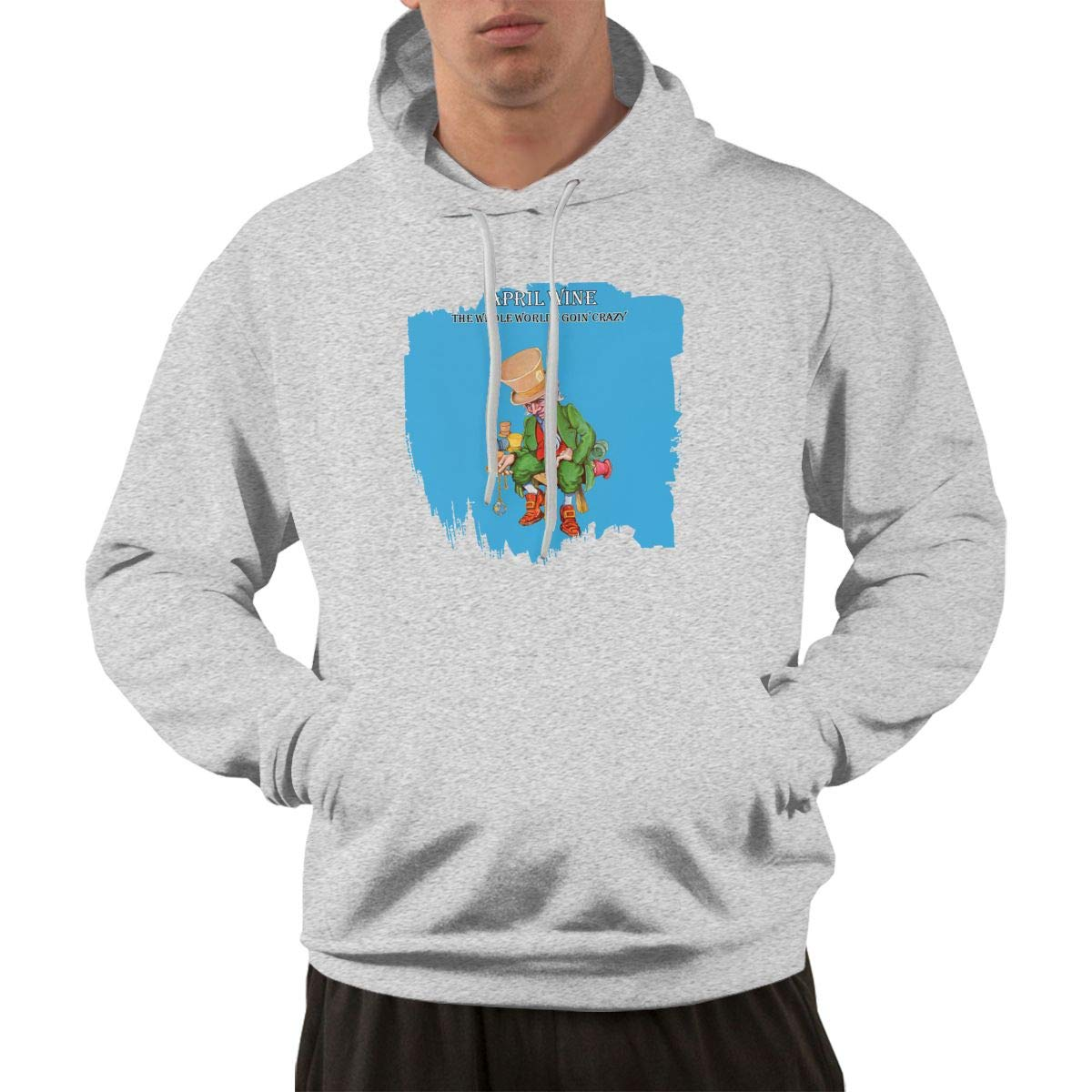 Erman Pullover Warm Gray Print April Wine Hooded Shirts With Pocket M