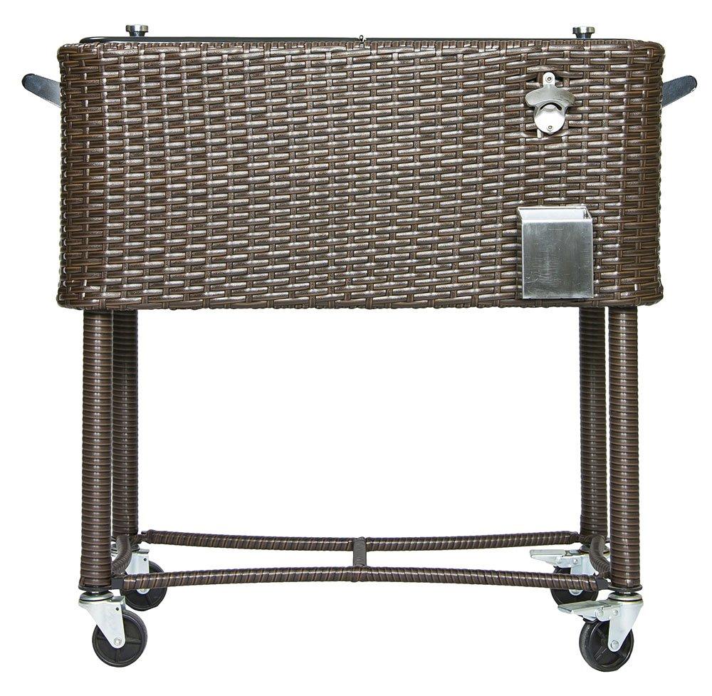 Permasteel 80 Quart Portable Rolling Patio Party Cooler in Wicker