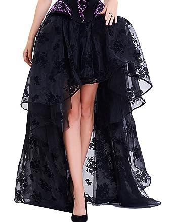 9e0b6223e8 Burvogue Women s Gothic Vintage Lace High Low Steampunk Skirt ...