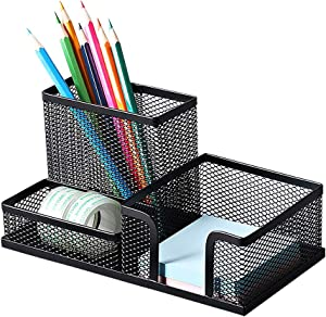 Deli Mesh Desk Organizer Office Supplies Caddy with Pencil Holder and Storage Baskets for Desk Accessories, 3 Compartments, Black