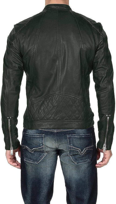 1510011 Lasumisura Mens Black Genuine Lambskin Leather Jacket