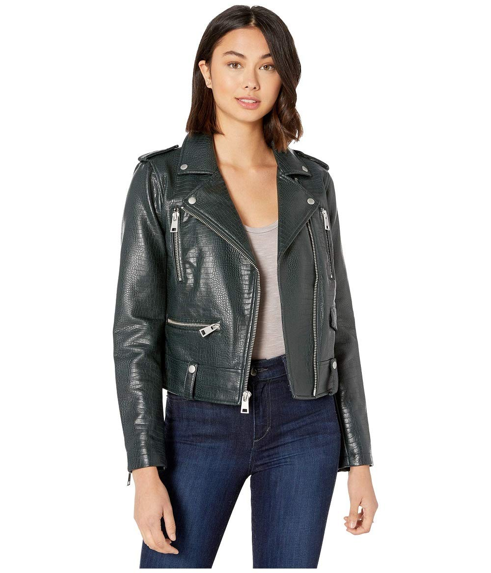 Levi's Women's Plus Size Faux Leather Contemporary Asymmetrical Motorcycle Jacket, Petrol Green Croc, 3 X by Levi's