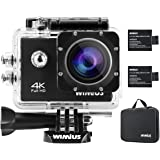 4K 16MP Sports Action Camera WiFi Waterproof Action Cam Sports Camcoder with Carrying Case 2 Batteries Accessories