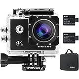 WiMiUS Action-Kamera 4K Action Cam WiFi 1080P 16MP Sports Action Camera Wasserdichte Helmkamera mit Transporttasche