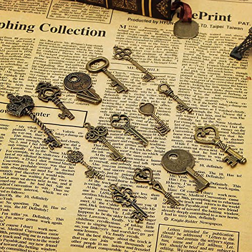 14pcs Retro Vintage Old Style Key Pendants DIY Accessaries from BephaMart