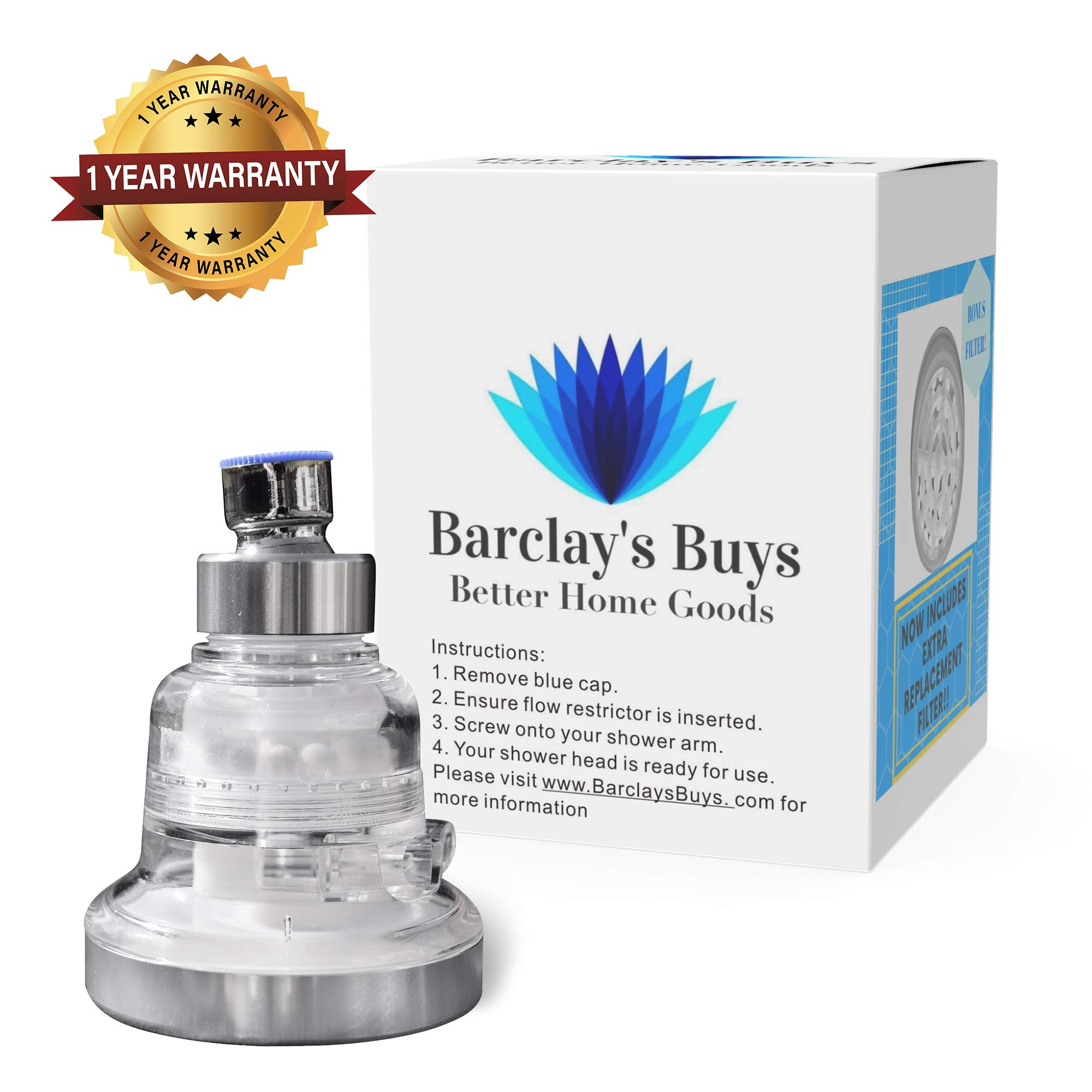 Water Softener Shower Head - High Pressure and Water Saving - 3 Settings - Reduces Chlorine and Chloramine - The Best Shower Filter for Low Water Pressure - Improved Design WITH METAL COMPONENT PARTS by Barclay's Buys Better Home Goods