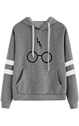 Minetom Women's Autumnn Fashion Long Sleeve Pullover Harry Potter Glasses Prints Hoodies Hooded Sweatshirt Sweater Tops Gray US 14