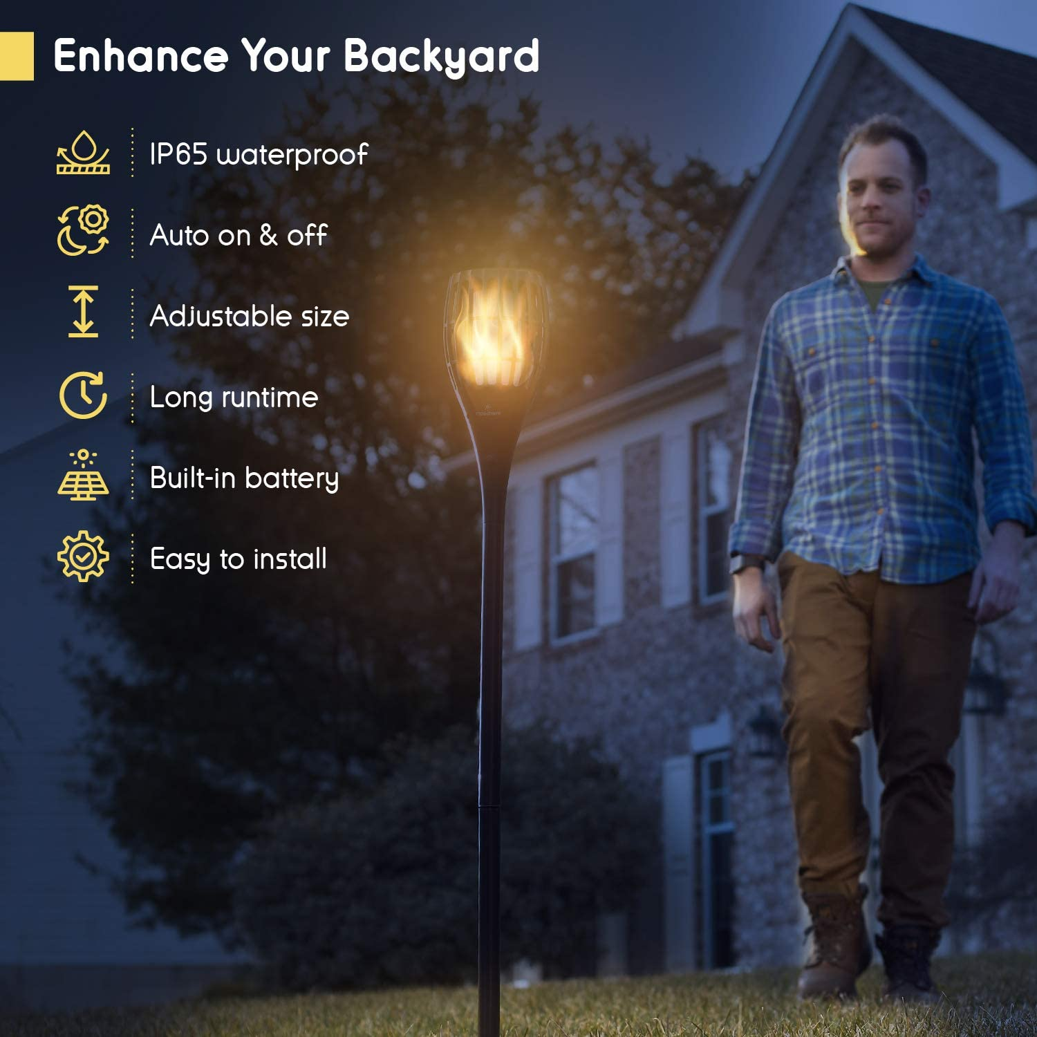 1 Pack Everbeam P1 Solar Torch Light with Flickering Flame Our Waterproof Outdoor Solar Tiki Torches Come Equipped with 96 LED Bulbs That Create A Stunning Realistic Fire Effect