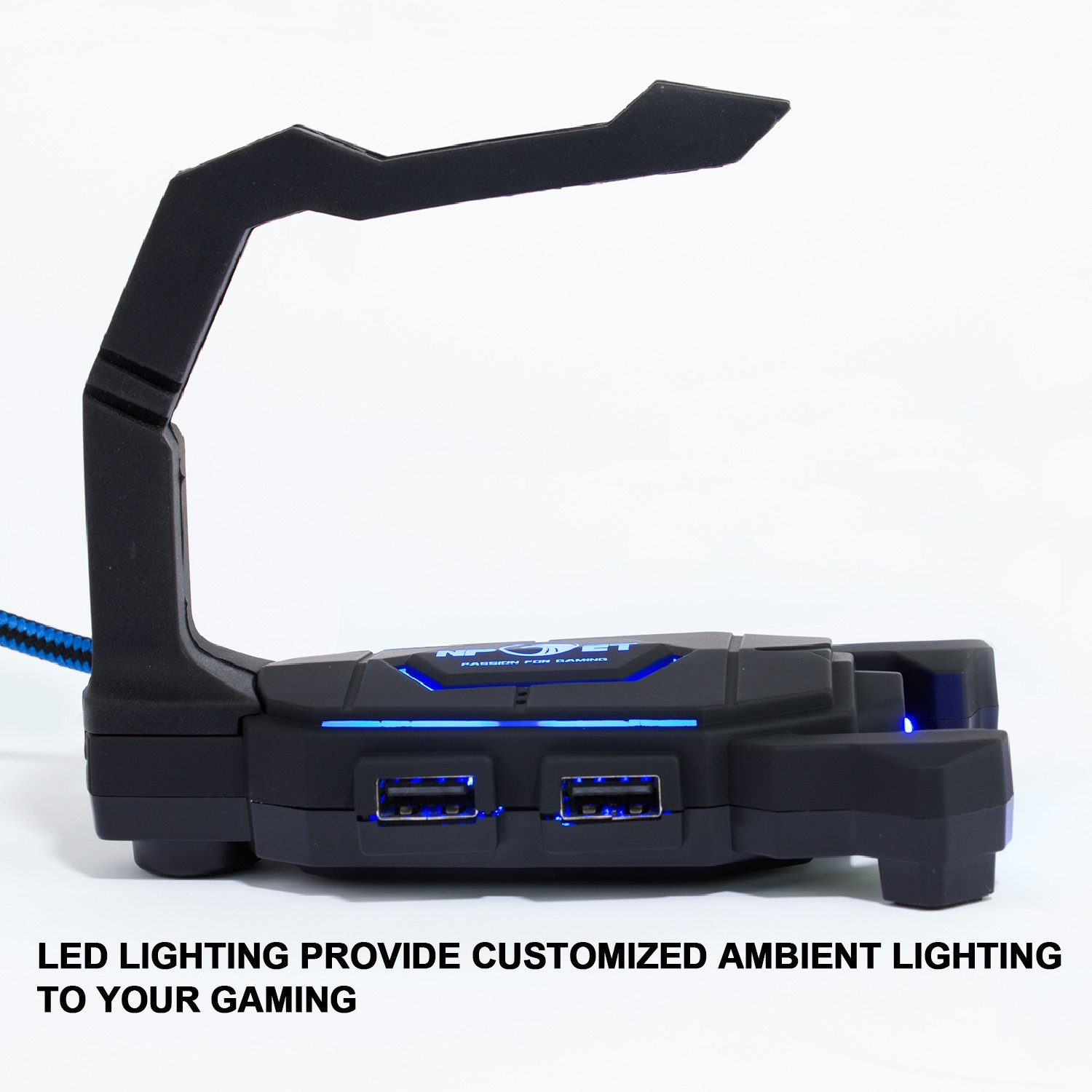 Gaming Mouse BungeeCord Holder with 4-Port USB HUB, NPET H01 LED Lighting Mouse Cable Manager, Non-Slip Rubber Pads Base, Clamping Arrangements, Designed for Pro Esports, Competitive Games by NPET (Image #10)