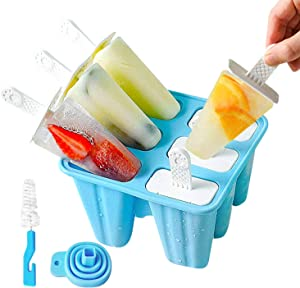 Mighty Planet Silicone Popsicle Molds Ice Pop Molds 6 Pieces BPA Free Food Graded Reusable - Ice Cream Maker holder tray with Funnel and Cleaning Brush for Family Kids Baby