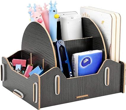 forniture per ufficio Bianco+Marrone chiaro 0311-TAN Poeland tavolo da toeletta organizer da scrivania portapenne per scrivania