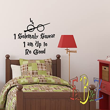 Harry Potter Wall Decal Quote I Solemnly Swear Hogwarts Wall Decals Vinyl  Stickers Nursery Kids Wall